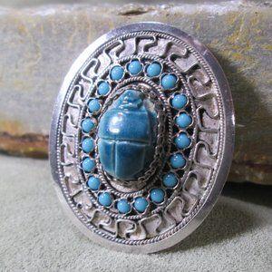 Silver SCARAB Brooch Blue Faience Beetle Greek Key